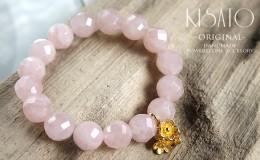 ちょっぴりスモーキーピンクの優しい輝き☆ローズクォーツのブレスレットNo99
